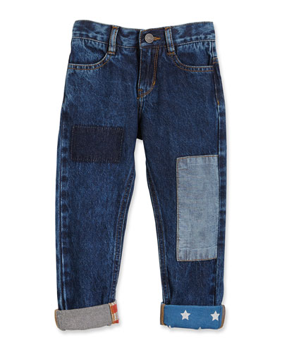 Stars & Stripes Patchwork Jeans, Blue, Size 6-10