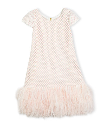 Cap-Sleeve Netted Shift Dress, Pink, Size 7-16
