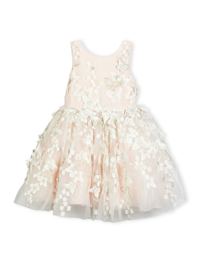 Sleeveless Tulle Butterfly Dress, Blush, Size 2-6X