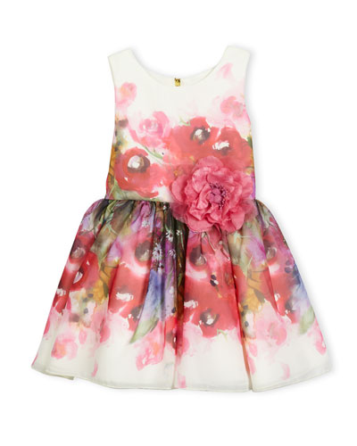 Sleeveless Smocked Floral Chiffon Dress, Pink, Size 2-6X