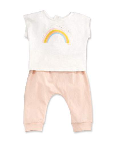 Rainbow Tee Two-Piece Set, Pink, Size 3-12 Months