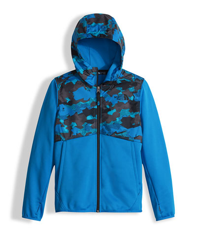 Kickin' It Camo-Trim Hooded Fleece Jacket, Blue, Size XXS-L