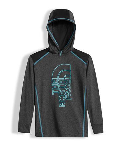 Reactor Hooded Long-Sleeve Jersey Tee, Gray, Size XXS-L