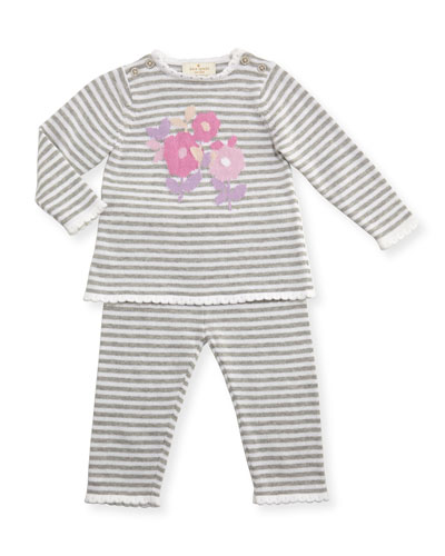 floral striped sweater w/ pants, gray/white, size 3-9 months