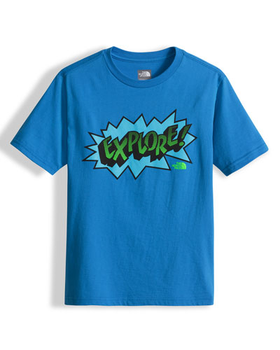 Explore Graphic Jersey Tee, Blue, Size XXS-L