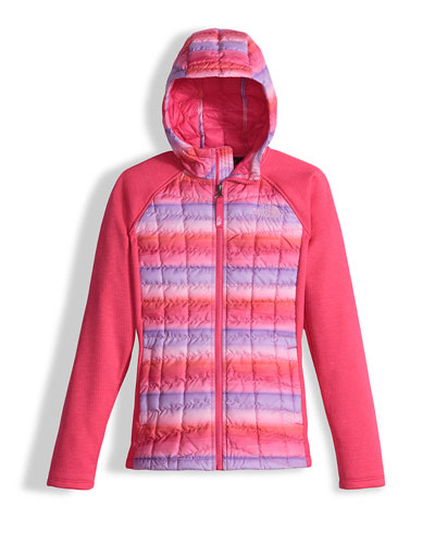 Arcata Hooded Mixed-Media Puffer Jacket, Pink, Size XXS-L