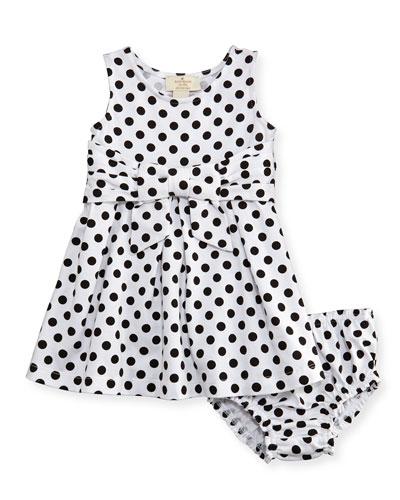 jillian sleeveless fit-and-flare polka-dot jersey dress, black/white, size ...