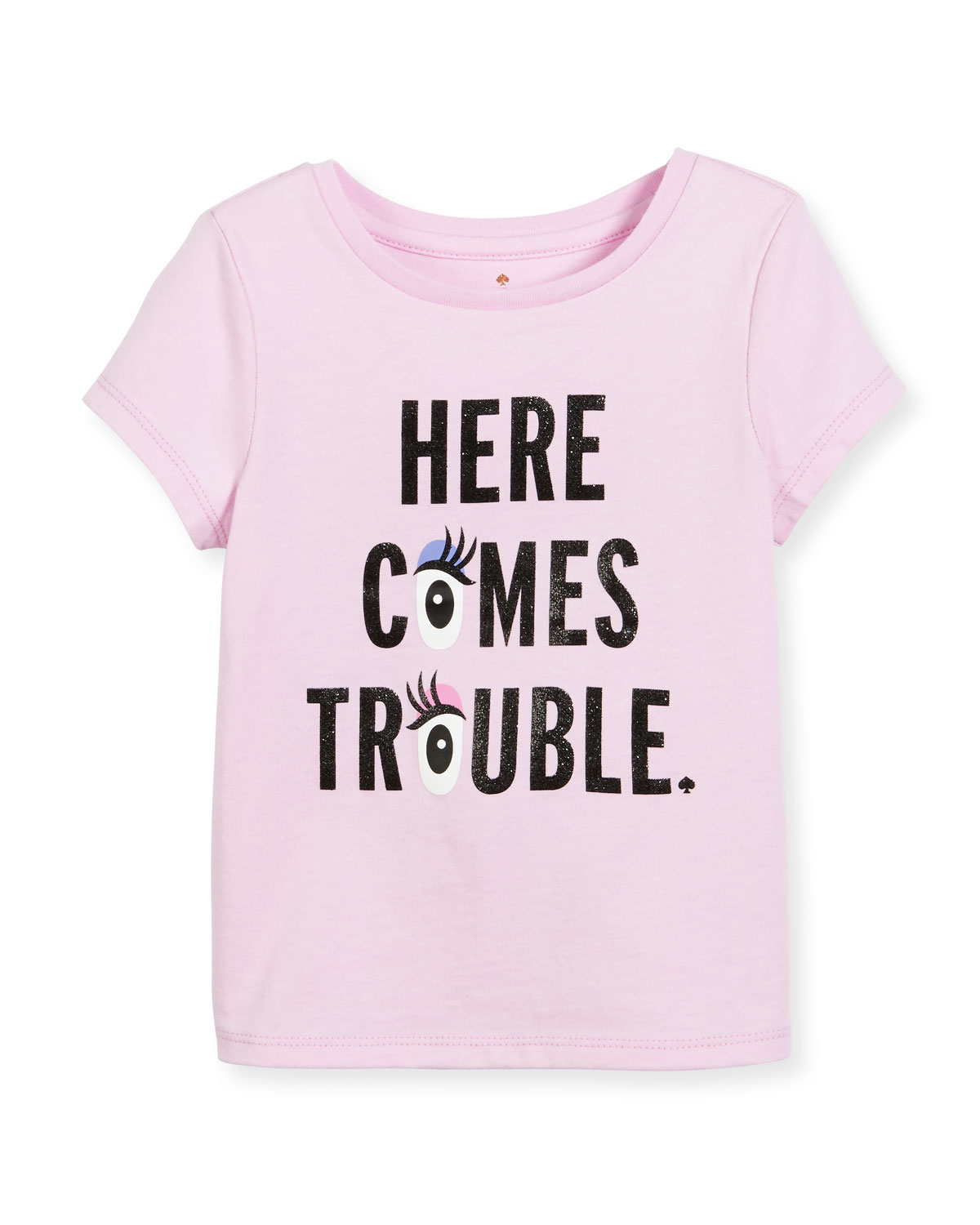 here comes trouble jersey tee, pink, size 7-14