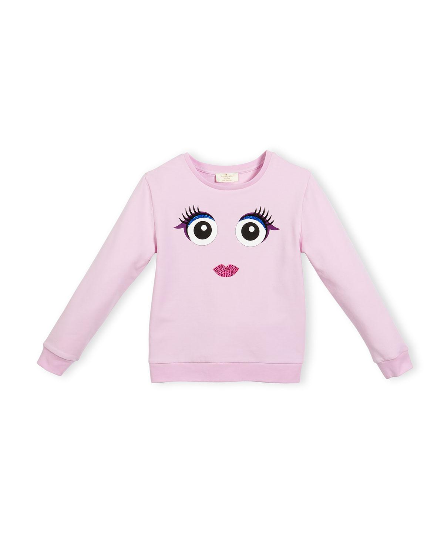 stretch jersey monster sweatshirt, pink, size 7-14