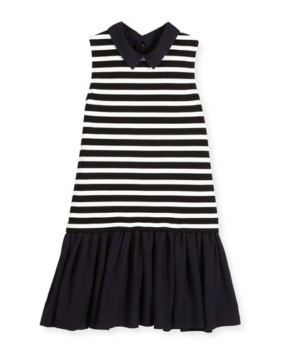 sleeveless striped ponte & pebbled crepe shift dress, black/white, size 7-14