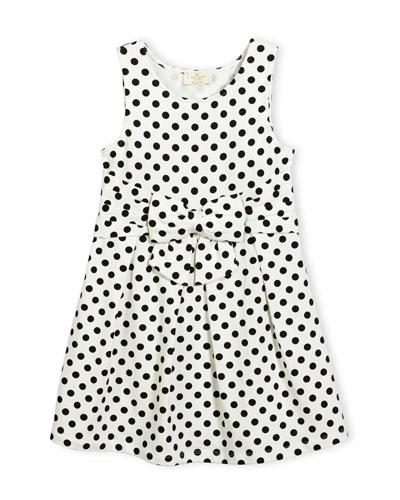 jillian sleeveless fit-and-flare polka-dot jersey dress, black/white, size 7-14