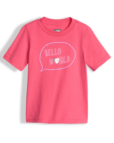Hello World Graphic Jersey Tee, Pink, Size 2-4T