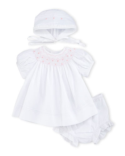 Smocked Bishop Dress Set, White, Size 0-9 Months