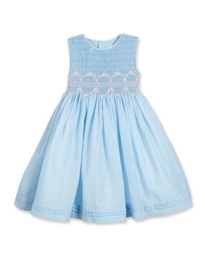 Sleeveless Floral-Trim Smocked Dress, Blue, Size 4-6X