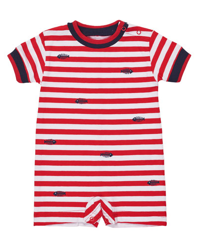 Short-Sleeve Striped Stretch Jersey Shortall, Red, Size 3-24 Months
