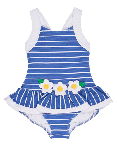 Striped Jacquard Skirted Swimsuit, Blue, Size 2-6X