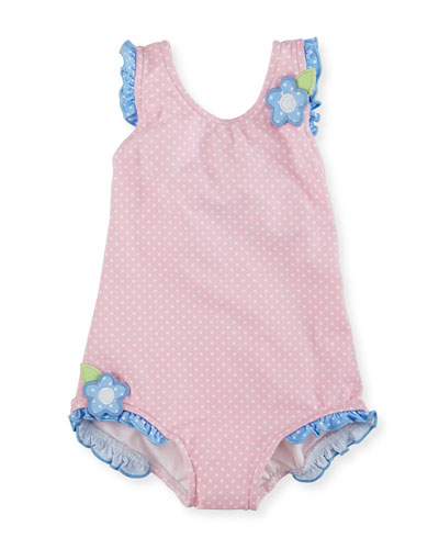 Polka-Dot One-Piece Swimsuit, Pink, Size 6-24 Months