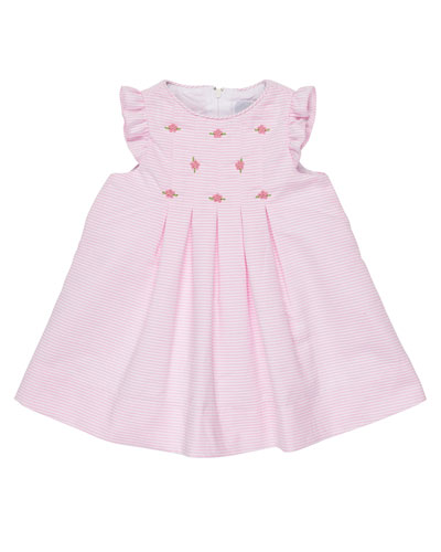 Pleated Striped Ottoman Dress, Pink, Size 3-24 Months