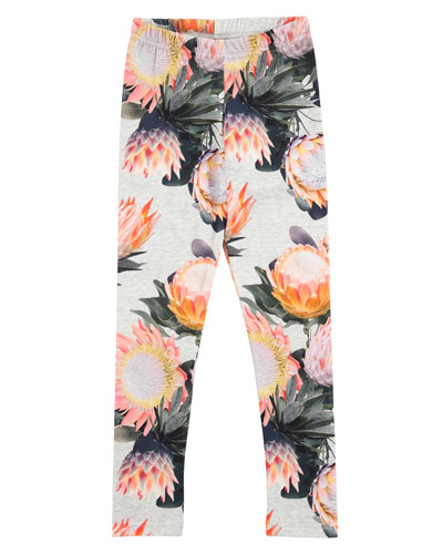 Niki Floral Stretch Jersey Leggings, Gray, Size 3-12
