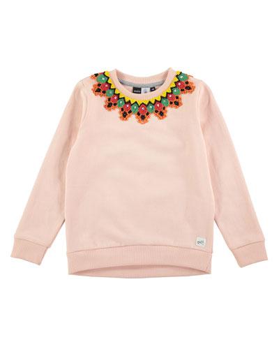 Maya Crochet Crewneck Pullover Sweatshirt, Pink, Size 4-14