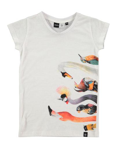 Rozalia Bird-Print T-Shirt, Sizes 3-10
