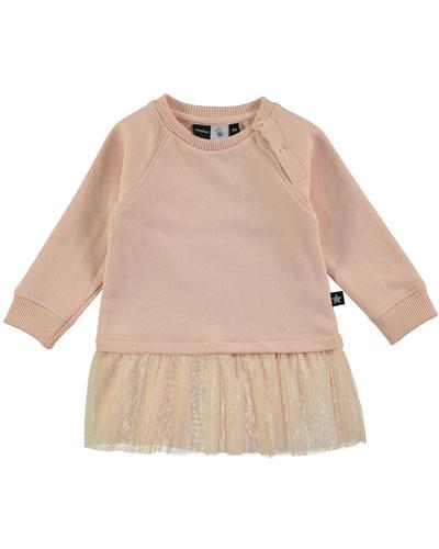 Carlin Raglan Jersey & Tulle Dress, Pink, Size 12-24 Months