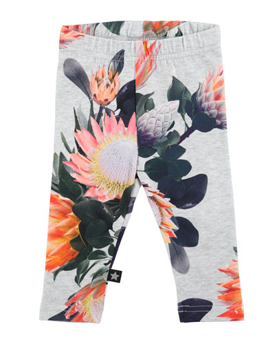 Stefanie Floral Stretch Jersey Leggings, Gray, Size 6-24 Months