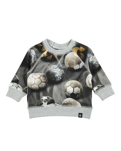 Elmo Soccer Ball Pullover Sweatshirt, Gray, Size 12-24 Months