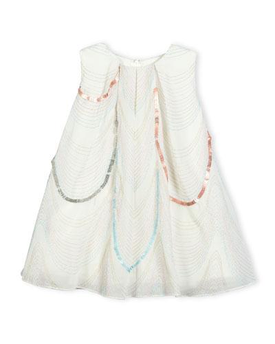 Sleeveless Scalloped Organza Swing Dress, White, Size 12-18 Months