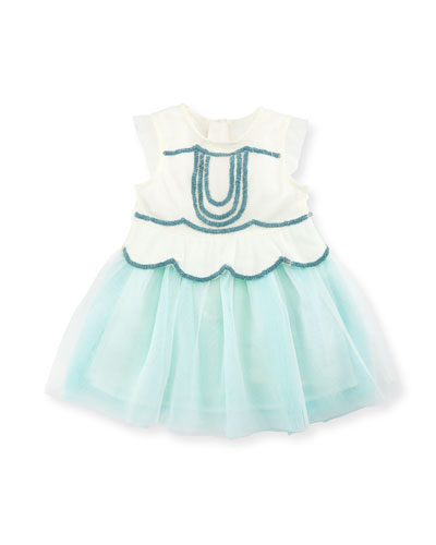 Sleeveless Sequin Tulle Dress, White, Size 12-18 Months