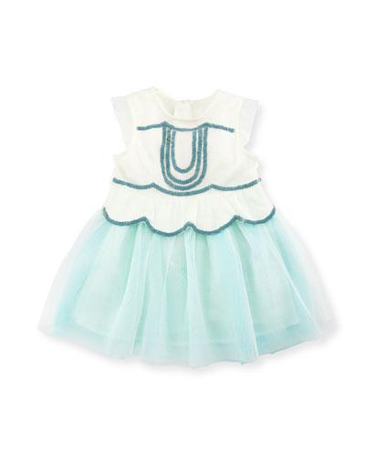 Sleeveless Sequin Tulle Dress, White, Size 2-3