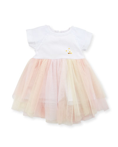 Short-Sleeve Jersey & Tulle Dress, White/Pink, Size 12-18 Months