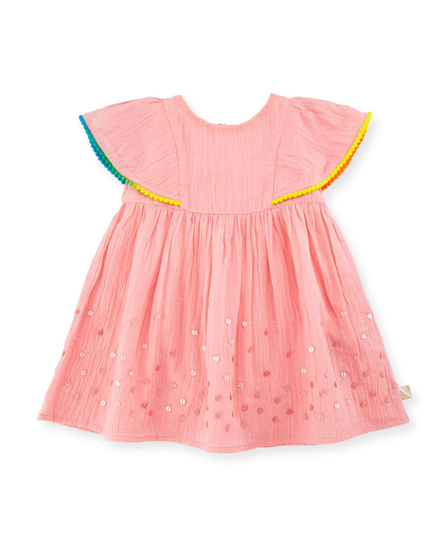 Cape-Sleeve Crinkled Sequin Dress, Pink, Size 2-3