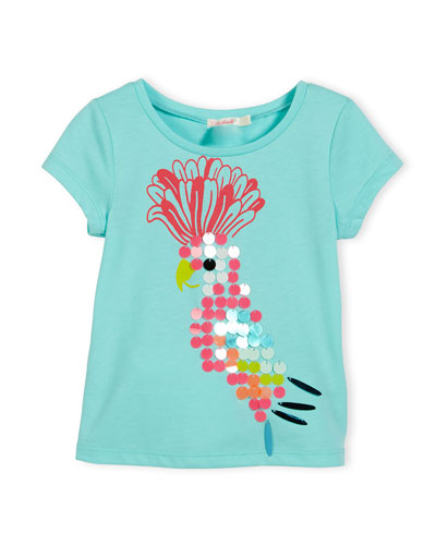 Short-Sleeve Embellished Parrot Jersey Tee, Blue, Size 4-5