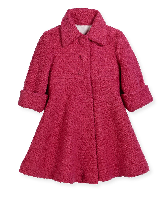 Wool-Blend Boucle Swing Coat, Fuchsia, Size 7-14