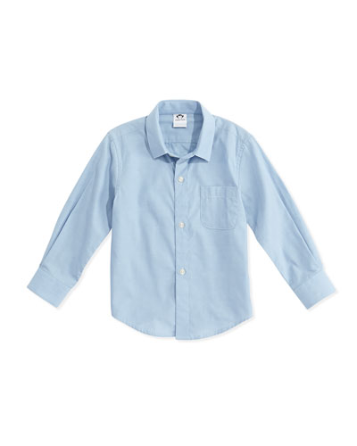 Long-Sleeve Cotton Pin-Dot Shirt, Blue, Size 2-14