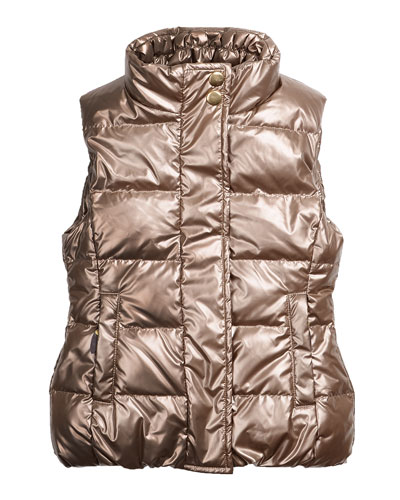 Cruz Quilted Metallic Puffer Vest, Gold, Size 2-6