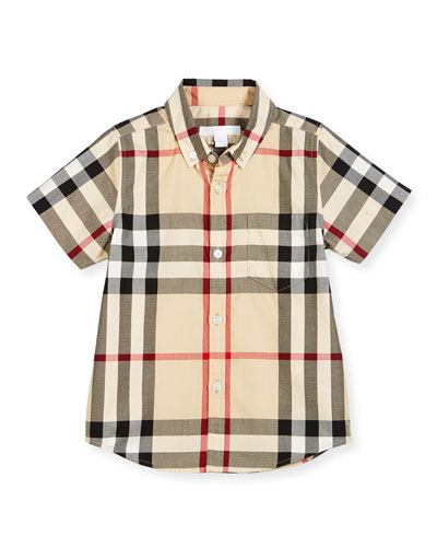 Fred Mini Short-Sleeve Check Shirt, New Classic, Size 4-14