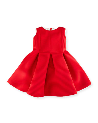 Sleeveless Pleated Shadow Stripe Scuba Dress, Red, Size 2-6
