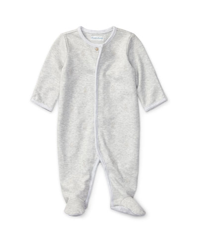 Logo Embroidery Heathered Interlock Footie Pajamas, Size Newborn-9 Months