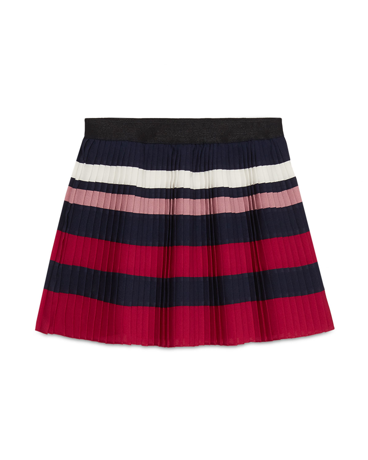 Striped Silk-Blend Pleated Skirt, Blue/Red/White, Size 6-12