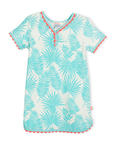 Palm Leaf Terry Shift Dress, Seafoam, Size 4-8