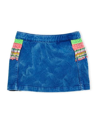Beaded Fringe Denim Skirt, Blue, Size 4-8
