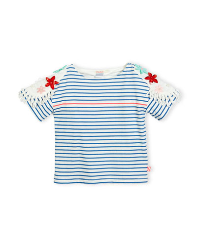 Short-Sleeve Striped Cotton Jersey Tee, Blue/White, Size 4-8