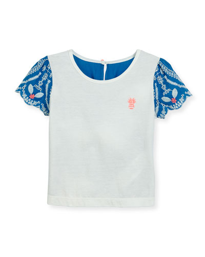 Short-Sleeve Embroidered Poplin & Jersey Tee, White/Blue, Size 4-8