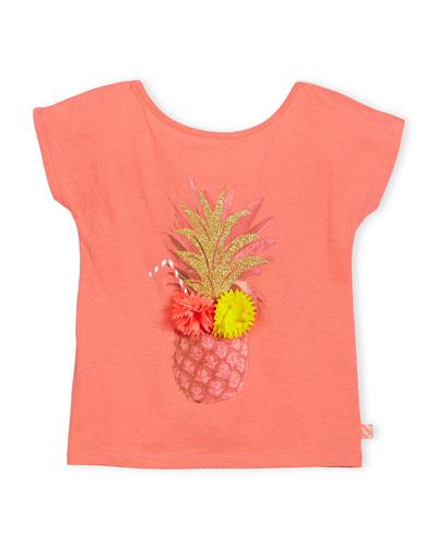 Cap-Sleeve Pineapple Jersey Tee, Pink, Size 4-8