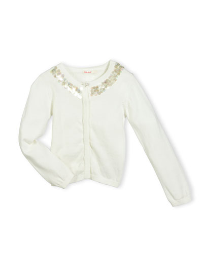 Embellished Cotton Button-Front Cardigan, White, Size 4-8