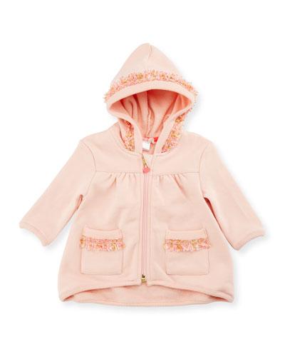 Hooded Fringe Zip-Front Sweatshirt, Rose, Size 12-18 Months