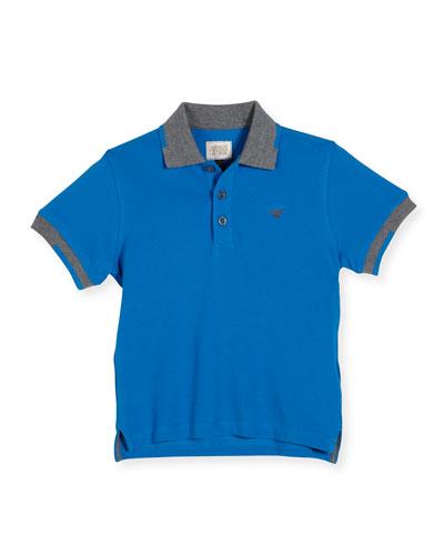 Tipped Basic Polo Shirt, Blue, Size 4-12