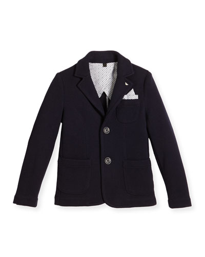 Pique Two-Button Blazer, Blue, Size 4-12